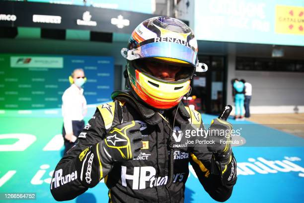 Race winner Oscar Piastri of Australia and Prema Racing celebrates in parc ferme during race two of the Formula 3 Championship at Circuit de...