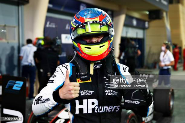 Race winner Oscar Piastri of Australia and Prema Racing celebrates in parc ferme during Sprint Race 2 of Round 1:Sakhir of the Formula 2 Championship...