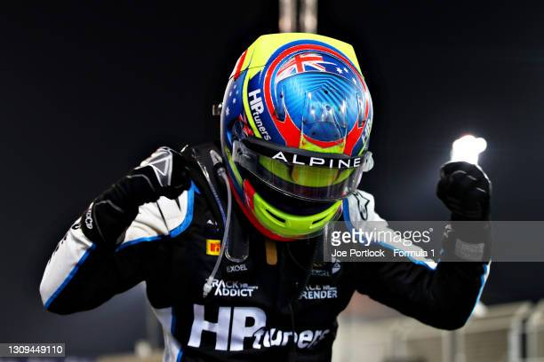 Race Winner, Oscar Piastri of Australia and Prema Racing celebrates in parc ferme during Sprint Race 2 of Round 1:Sakhir of the Formula 2...