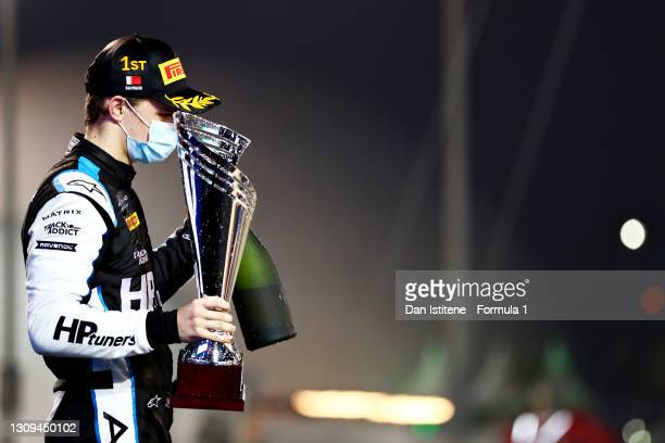 Race winner Oscar Piastri of Australia and Prema Racing celebrates on the podium during Sprint Race 2 of Round 1:Sakhir of the Formula 2 Championship...