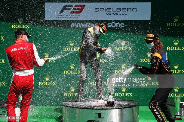 Race winner Oscar Piastri of Australia and Prema Racing , second placed Logan Sargeant of United States and Prema Racing and third placed Alex Peroni...