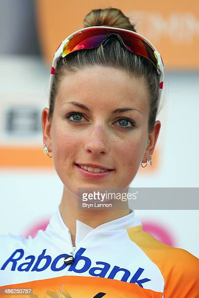 Race winner Pauline FerrandPrevot of France and RabobankLiv stands on the podium after the 17th edition of the La Fleche Wallonne Feminine on April...