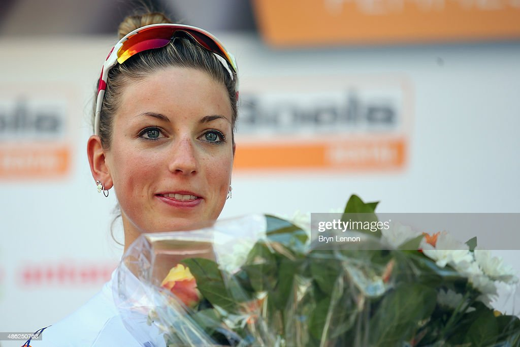 Race winner Pauline Ferrand-Prevot of France and Rabobank-Liv stands on the podium after the 17th edition of the La Fleche Wallonne Feminine on April 23, 2014 in Huy, Belgium. Part of the UCI Women's Road Cycling World Cup, the 127km parcours scales the famous Mur de Huy climb twice, with the final 9.3% average ascent providing the finish to the race.
