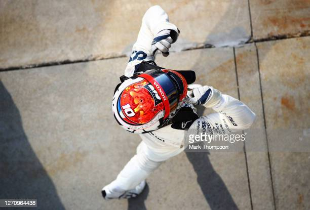 Race winner Pierre Gasly of France and Scuderia AlphaTauri celebrates in parc ferme during the F1 Grand Prix of Italy at Autodromo di Monza on...