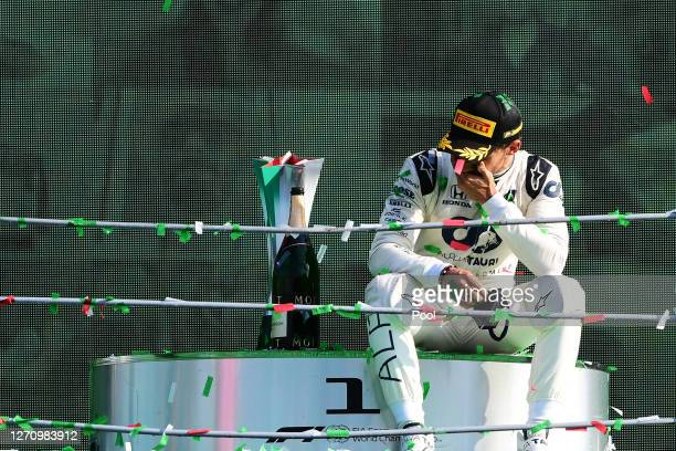 Race winner Pierre Gasly of France and Scuderia AlphaTauri celebrates on the podium during the F1 Grand Prix of Italy at Autodromo di Monza on...