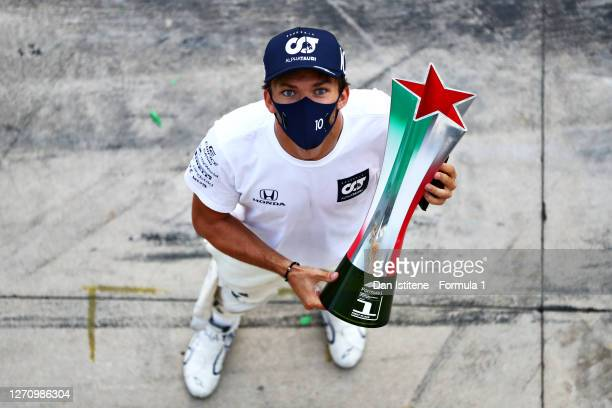 Race winner Pierre Gasly of France and Scuderia AlphaTauri celebrates during the F1 Grand Prix of Italy at Autodromo di Monza on September 06, 2020...