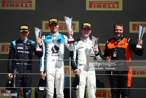 Race winner Richard Verschoor of Netherlands and MP Motorsport, second placed Marcus Armstrong of New Zealand and DAMS and third placed Dan Ticktum...