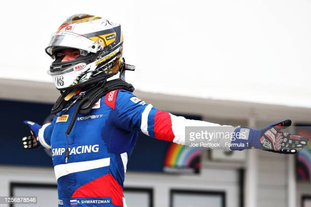 Race winner Robert Shwartzman of Russia and Prema Racing celebrates in parc ferme during the feature race for the Formula 2 Championship at...