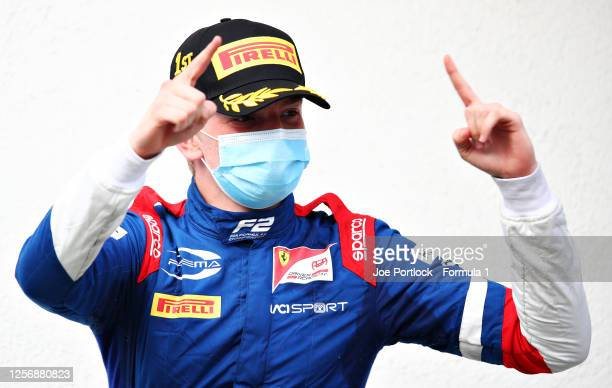 Race winner Robert Shwartzman of Russia and Prema Racing celebrates on the podium during the feature race for the Formula 2 Championship at...