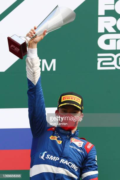 Race winner Robert Shwartzman of Russia and Prema Racing celebrates on the podium during the sprint race of the Formula 2 Championship at Circuit de...