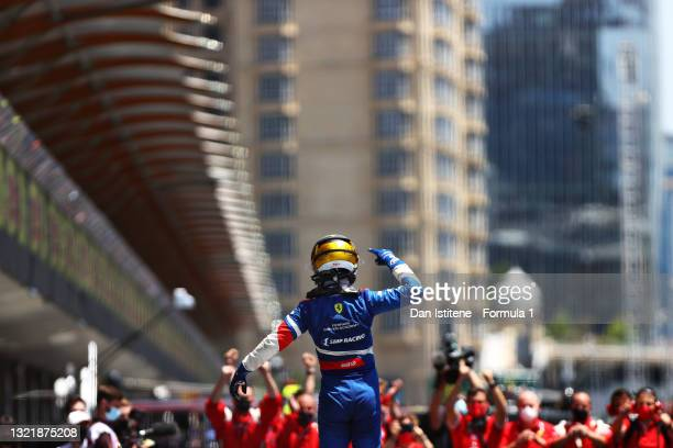 Race winner Robert Shwartzman of Russia and Prema Racing celebrates in parc ferme after winning the sprint race 1 of Round 3:Baku of the Formula 2...