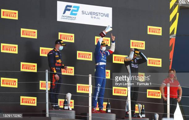 Race winner Robert Shwartzman of Russia and Prema Racing, second placed Juri Vips of Estonia and Hitech Grand Prix and third placed Christian...