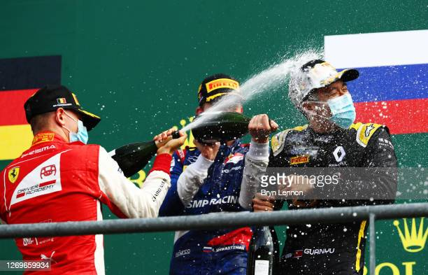 Race winner Robert Shwartzman of Russia and Prema Racing, second place Mick Schumacher of Germany and Prema Racing and third place Guanyu Zhou of...