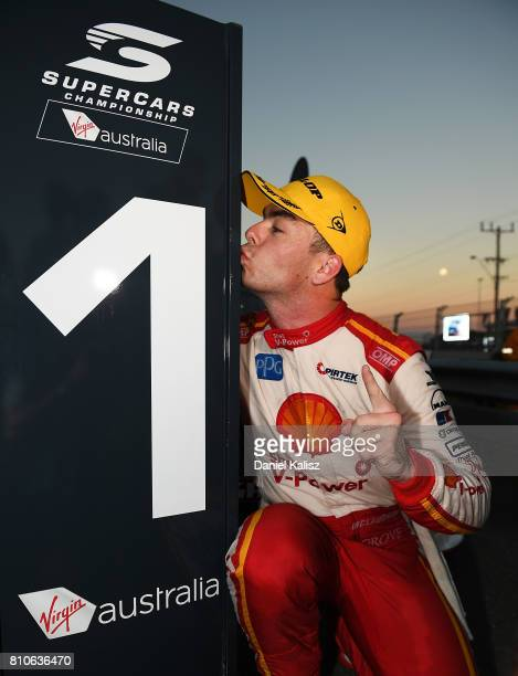 Race winner Scott McLaughlin driver of the Shell VPower Racing Team Ford Falcon FGX celebrates after race 13 for the Townsville 400 which is part of...