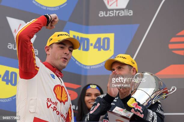 Race winner Scott McLaughlin driver of the Shell VPower Racing Team Ford Falcon FGX celebrates after the Supercars Phillip Island 500 at Phillip...