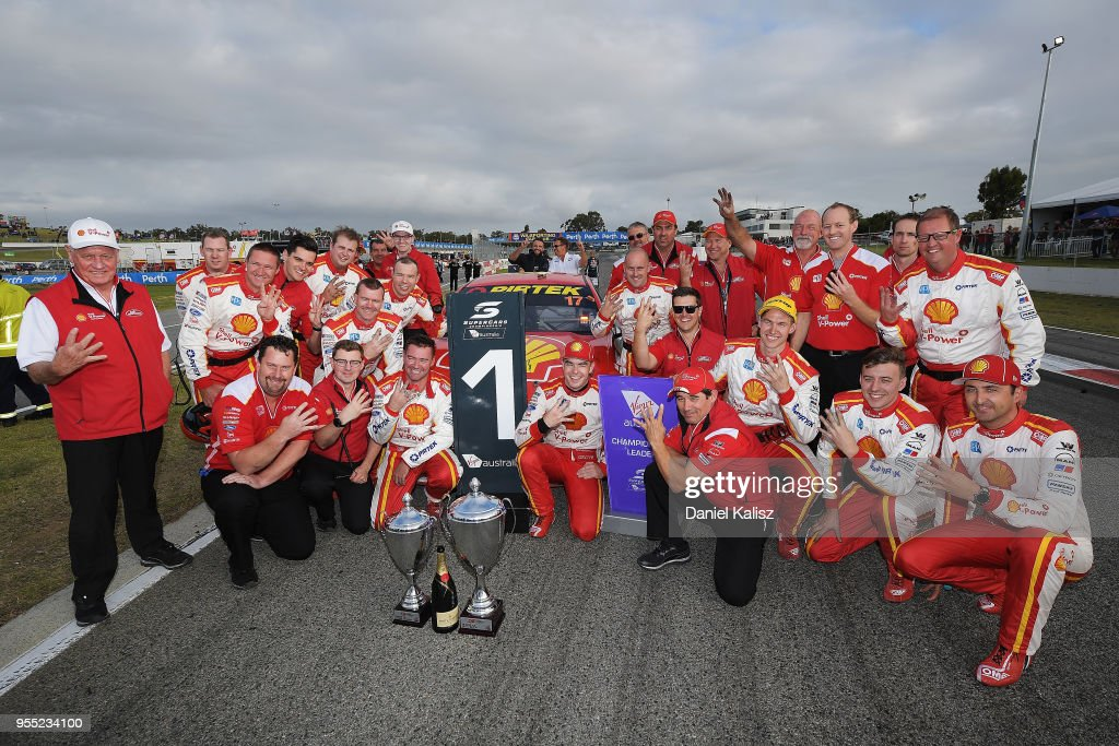 Race winner Scott McLaughlin driver of the #17 Shell V-Power Racing Team Ford Falcon FGX celebrates with his team after race 12 for the Supercars Perth SuperSprint at Barbagello Raceway on May 6, 2018 in Perth, Australia.