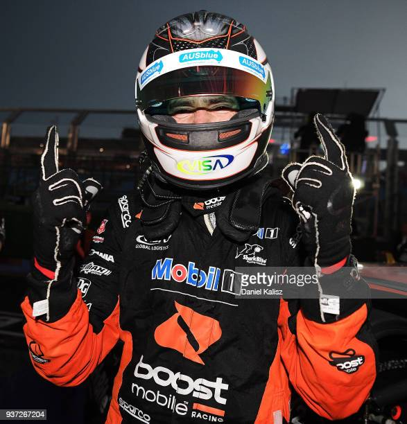 Race winner Scott Pye driver of the Mobil 1 Boost Mobile Racing Holden Commodore ZB celebrates after winning race 3 for the Supercars Australian...