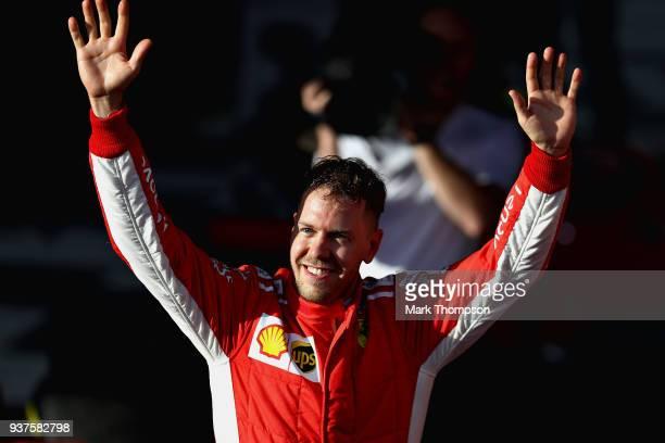 Race winner Sebastian Vettel of Germany and Ferrari celebrates after the Australian Formula One Grand Prix at Albert Park on March 25 2018 in...