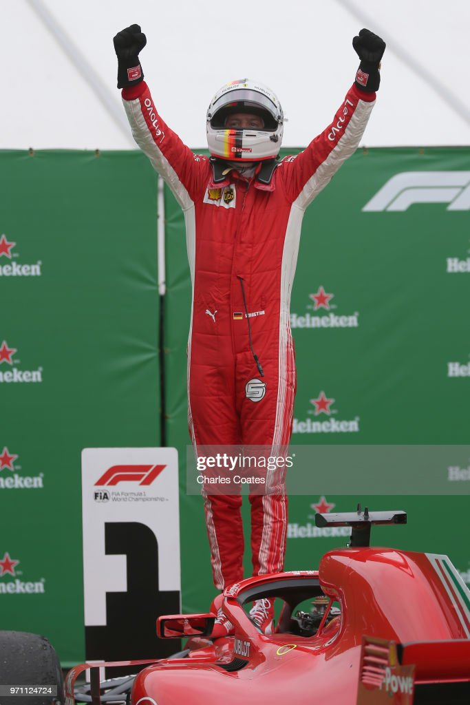 Race winner Sebastian Vettel of Germany and Ferrari celebrates in parc ferme during the Canadian Formula One Grand Prix at Circuit Gilles Villeneuve on June 10, 2018 in Montreal, Canada.