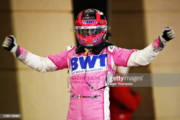 Race winner Sergio Perez of Mexico and Racing Point celebrates in parc ferme during the F1 Grand Prix of Sakhir at Bahrain International Circuit on...
