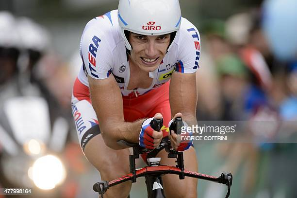 Race winner Slovenian rider Simon Spilak of Katusha team competes during the final stage of the Tour of Switzerland UCI World Tour a 384 km...