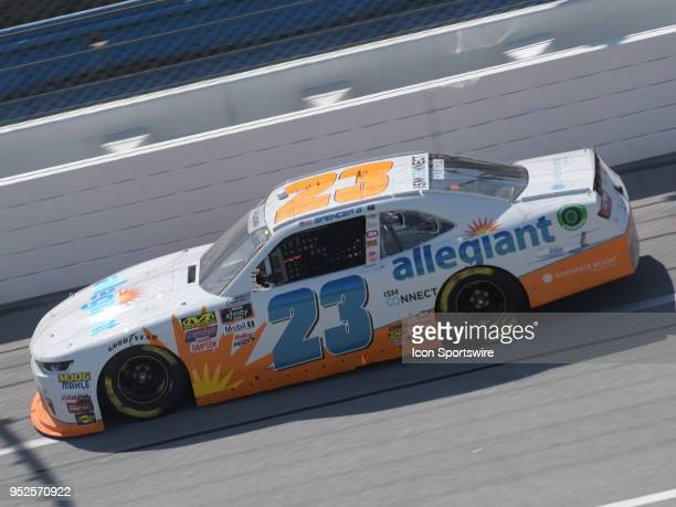 Race winner Spencer Gallagher GMS Racing Chevrolet Camaro Allegiant races through the trioval during the NASCAR Xfinity Series Sparks Energy 300 on...