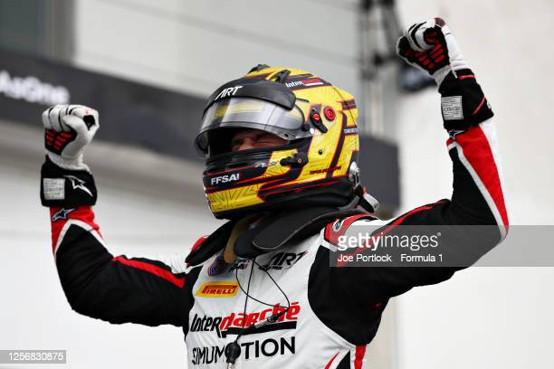 Race winner Theo Pourchaire of France and ART Grand Prix celebrates in parc ferme during race one of the Formula 3 Championship at Hungaroring on...