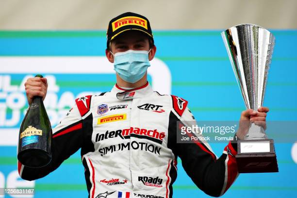 Race winner Theo Pourchaire of France and ART Grand Prix celebrates on the podium during race one of the Formula 3 Championship at Hungaroring on...