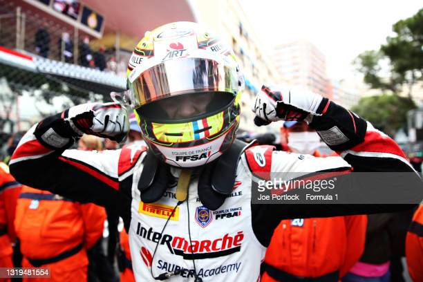 Race winner Theo Pourchaire of France and ART Grand Prix celebrates in parc ferme during the Feature Race of Round 2:Monte Carlo of the Formula 2...