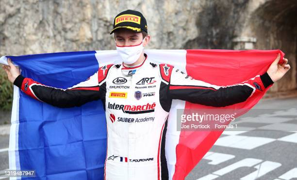 Race winner Theo Pourchaire of France and ART Grand Prix poses for a photo after the Feature Race of Round 2:Monte Carlo of the Formula 2...