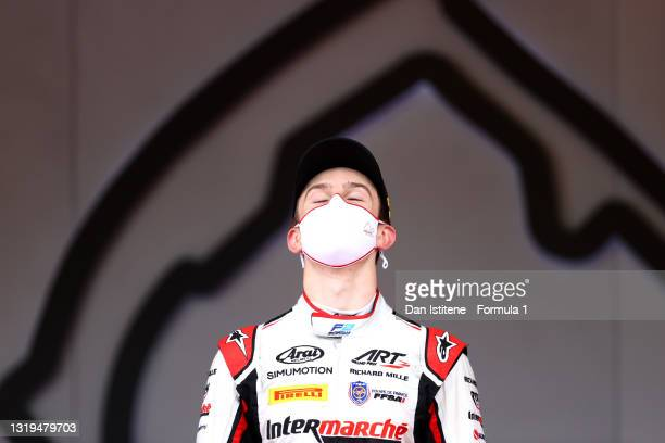 Race winner Theo Pourchaire of France and ART Grand Prix stands on the podium during the Feature Race of Round 2:Monte Carlo of the Formula 2...