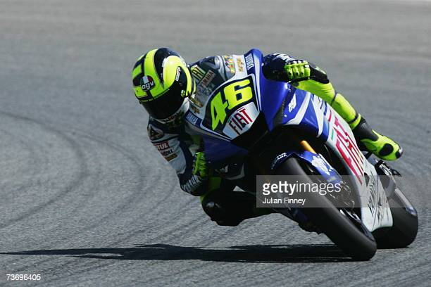 Race winner Valentino Rossi of Italy and Fiat Yamaha in action during the MotoGP of Spain at the Circuito de Jerez on March 25 2007 in Jerez Spain