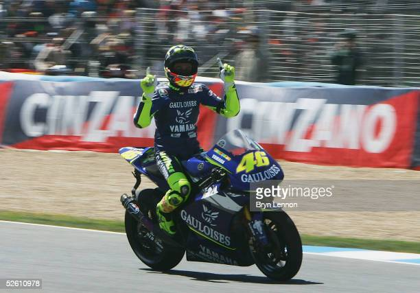 Race winner Valentino Rossi of Italy and Yamaha celebrates winning the Spanish MotoGP at the Circuito de Jerez on April 10 2005 in Jerez Spain