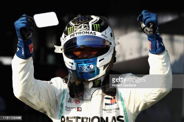 Race winner Valtteri Bottas of Finland and Mercedes GP celebrates in parc ferme during the F1 Grand Prix of Australia at Melbourne Grand Prix Circuit...