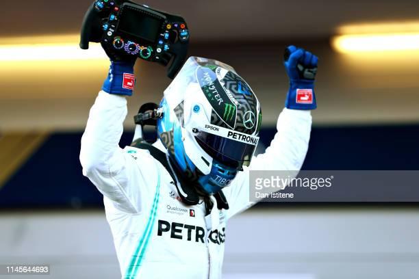 Race winner Valtteri Bottas of Finland and Mercedes GP celebrates in parc ferme during the F1 Grand Prix of Azerbaijan at Baku City Circuit on April...