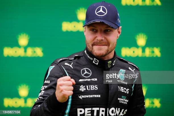 Race winner Valtteri Bottas of Finland and Mercedes GP celebrates in parc ferme during the F1 Grand Prix of Turkey at Intercity Istanbul Park on...