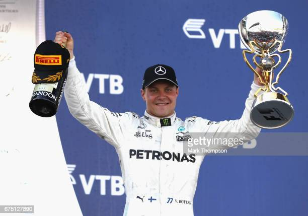 Race winner Valtteri Bottas of Finland and Mercedes GP celebrates on the podium during the Formula One Grand Prix of Russia on April 30 2017 in Sochi...