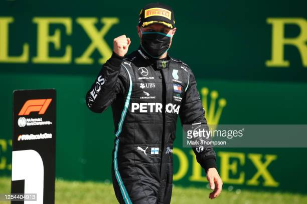 Race winner Valtteri Bottas of Finland and Mercedes GP during the Formula One Grand Prix of Austria at Red Bull Ring on July 05, 2020 in Spielberg,...