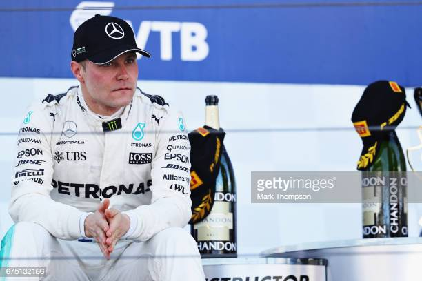 Race winner Valtteri Bottas of Finland and Mercedes GP on the podium during the Formula One Grand Prix of Russia on April 30 2017 in Sochi Russia