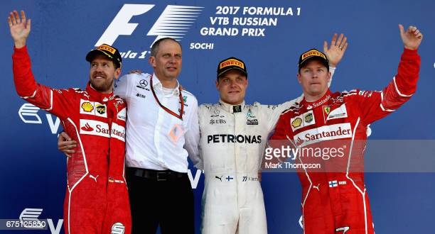 Race winner Valtteri Bottas of Finland and Mercedes GP second placed Sebastian Vettel of Germany and Ferrari and third placed Kimi Raikkonen of...