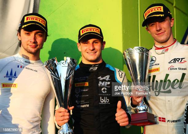 Race winner Victor Martins of France and MP Motorsport, second placed Clement Novalak of France and Trident and third placed Frederik Vesti of...