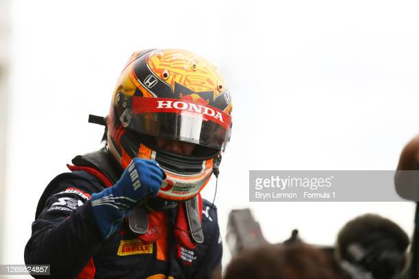 Race Winner Yuki Tsunoda of Japan and Carlin celebrates in Parc Ferme during the feature race of the Formula 2 Championship at Circuit de...