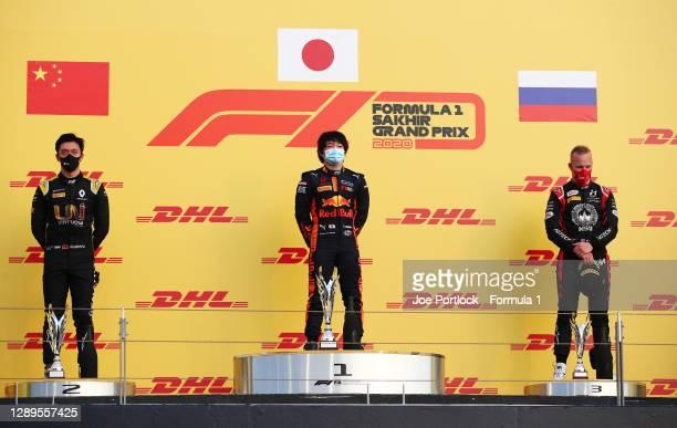 Race winner Yuki Tsunoda of Japan and Carlin , second placed Guanyu Zhou of China and UNI-Virtuosi Racing and third placed Nikita Mazepin of Russia...