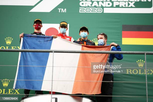 Race winner Yuki Tsunoda of Japan and Carlin, second placed Nikita Mazepin of Russia and Hitech Grand Prix and third placed Mick Schumacher of...
