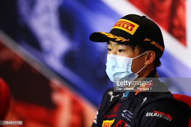 Race winner Yuki Tsunoda of Japan and Carlin talks in a press conference after the sprint race of the Formula 2 Championship at Silverstone on August...