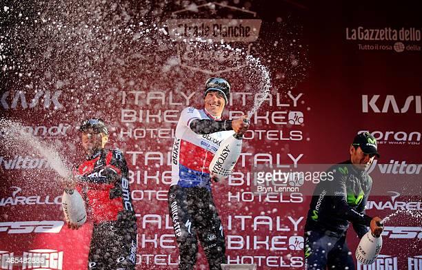 Race winner Zdenek Stybar of the Czech Republic and Etixx - Quick Step celebrates with second placed Greg Van Avermaet of Belgium and BMC Racing Team...