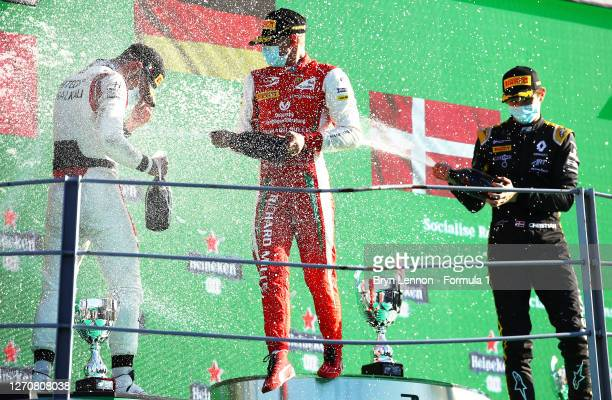 Race winnerMick Schumacher of Germany and Prema Racing, second placed Luca Ghiotto of Italy and Hitech Grand Prix and third placed Christian...