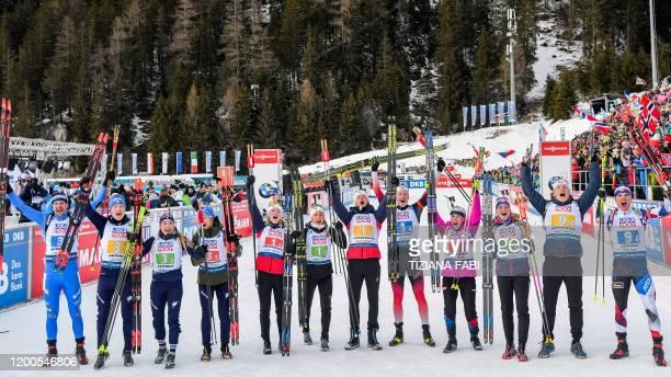 Race winners Norway's Marte Olsbu Roeiseland, Norway's Tiril Eckhoff, Norway's Tarjei Boe and Norway's Johannes Thingnes Boe and second-placed...
