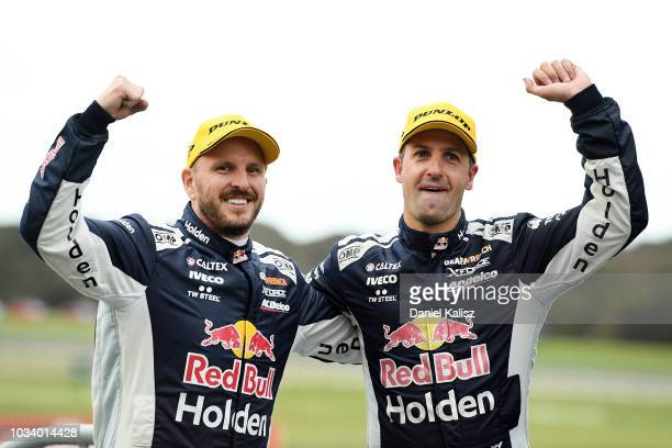 Race winners Paul Dumbrell driver of the Red Bull Holden Racing Team Holden Commodore ZB and Jamie Whincup driver of the Red Bull Holden Racing Team...