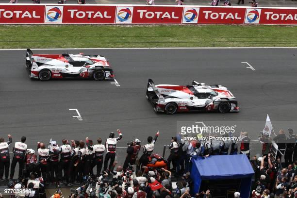 Race winners The Toyota Gazoo Racing TS050 Hybrid of Sebastien Buemi Kazuki Nakajima and Fernando Alonso leads second placed The Toyota Gazoo Racing...